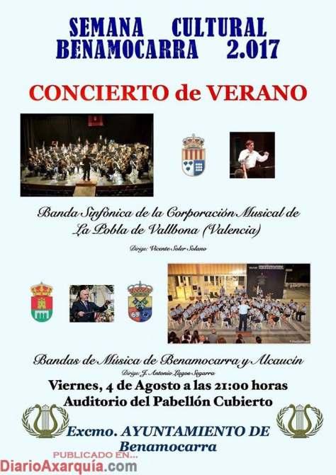 Concierto Bandas de Música de la Pobla de Vallbona, Benamocarra y Alcaucín