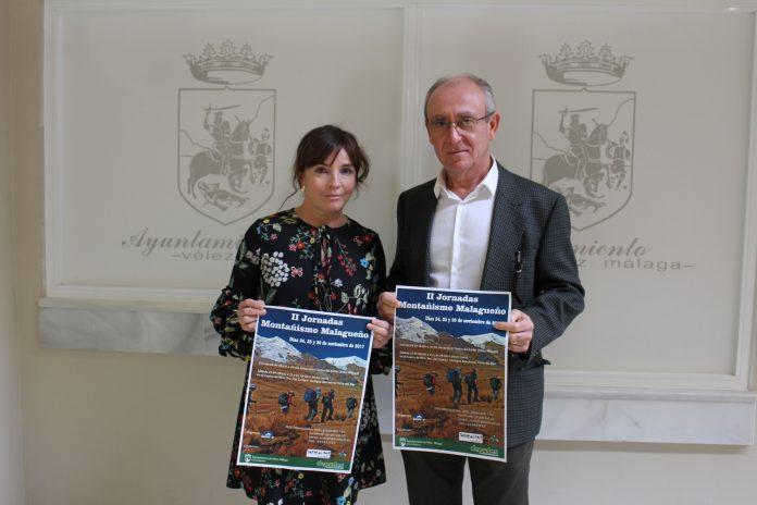 La concejala de Deportes del Ayuntamiento veleño, María José Roberto, y el presidente del club local Grupo del 17, Eugenio Calderón.