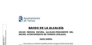El alcalde de la localidad, Óscar Medina ha publicado un bando con las indicaciones.