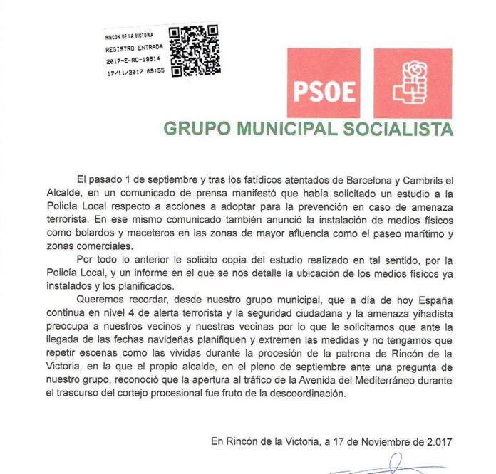 Imagen del escito presentado por los socialitas de Rincón de la Victoria en el Ayuntamiento.
