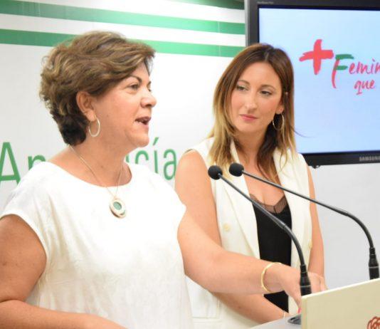 La vicesecretaria general del PSOE de Málaga y secretaria de Igualdad, Fuensanta Lima, y la parlamentaria andaluza del PSOE, María de las Nieves Ramírez.