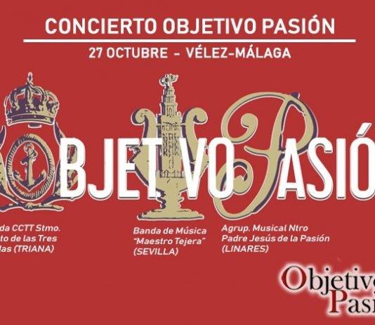 Enorme cartel para el cierre del V aniversario del portal web cofrade Objetivo Pasión. Las entradas a un módico precio de 8€ ya en reserva.