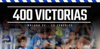 El Málaga CF ha logrado ante el CD Tenerife su victoria oficial número 400, entre todas las competiciones, desde su refundación como club en 1994.