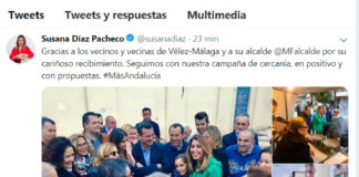 Mensaje de Susana Diaz en Twitter.