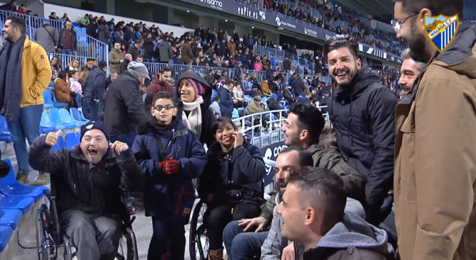 Partido Solidario', que contó con una nutrida presencia de fans del Málaga CF vinculados a colectivos sociales de la ciudad.